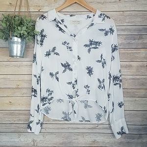 Anthro Cloth & Stone Floral Palm Leaf Blouse